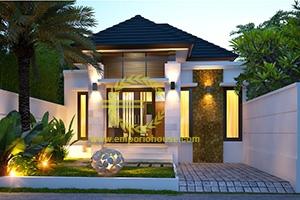 Desain Rumah 1 Lantai 2 Kamar Tidur Lebar 8 meter