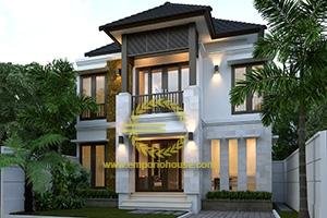 Desain Rumah 2 Lantai 3 Kamar Tidur Lebar 10 meter